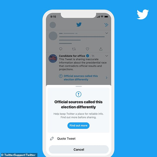 Twitter to add WARNINGS to premature election result claims