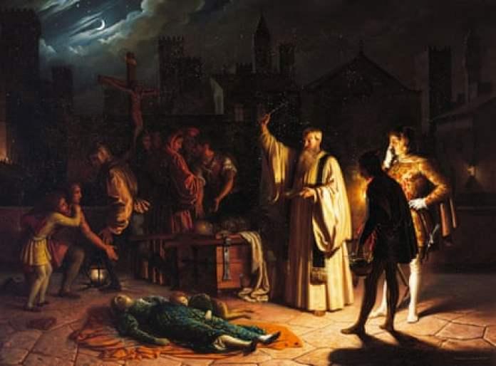 Scene of the plague in Florence in 1348, described by Boccaccio, by Baldassarre Calamai.