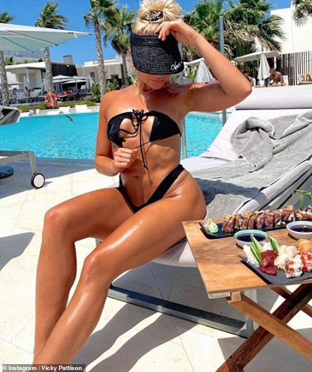 Sweet: The former Geordie Shore star, 32, admitted she's 'a complete sucker for a Scouser' as she uploaded sizzling images of the Love Islander, 28, showcasing her ripped figure in bikinis