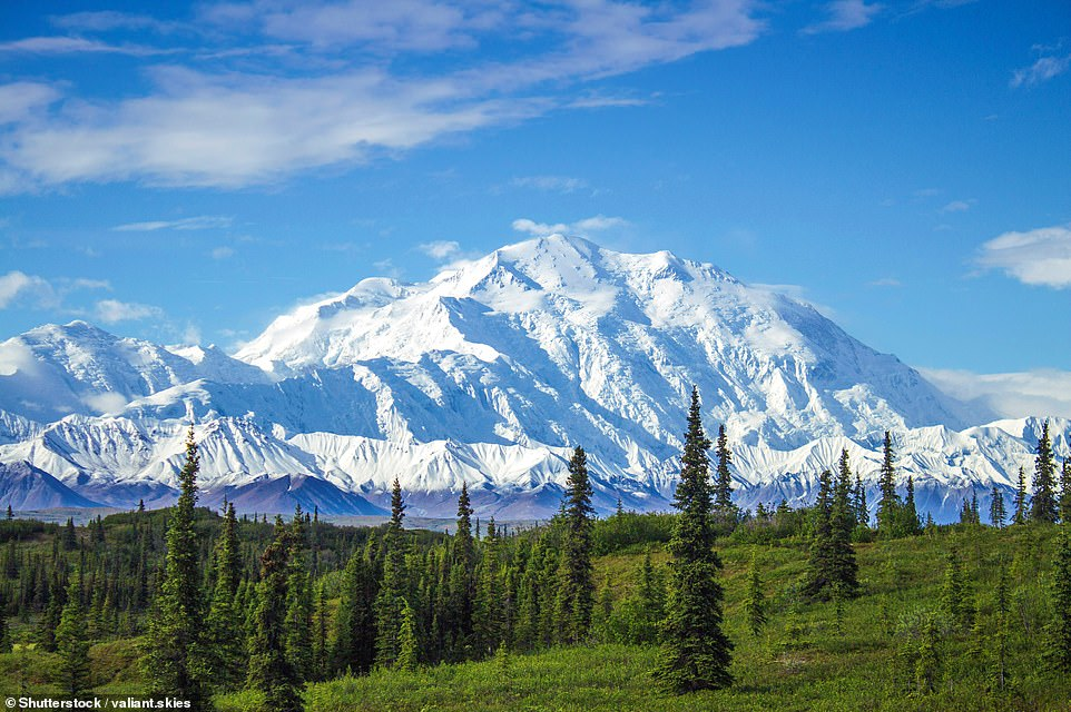 44. DENALI NATIONAL PARK, ALASKA: This national park encompasses six million acres of the Alaskan wilderness with its centrepiece being Mount Denali, pictured. At 20,310ft (6,190m), it is the tallest peak in North America