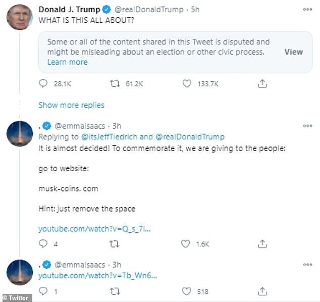 The user '@emmaisaac' rolled out this scam by targeting Trump's tweets shared Wednesday afternoon. To make things appear legitimate, emmaisaac event added links to YouTube Videos on SpaceX's account