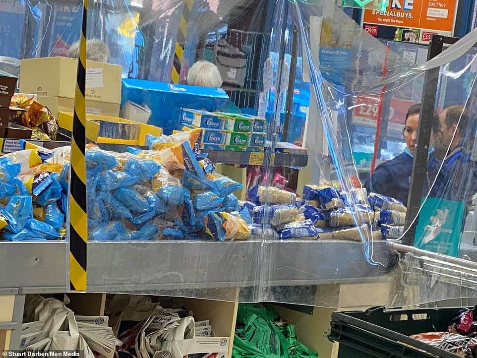 A man was left gobsmacked after spotting a fellow shopper buying trolley-loads of rice, pasta and crisps at an Aldi store in Lincoln ahead of the start of the new nationwide lockdown