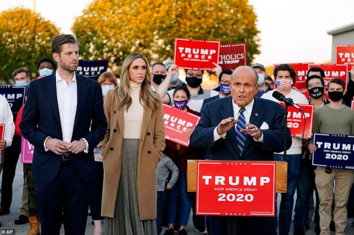 Rudy Giuliani, a lawyer for President Donald Trump, speaks during a news conference on legal challenges to vote counting in Pennsylvania on Wednesday afternoon after the president filed a lawsuit despite one million votes remaining uncounted