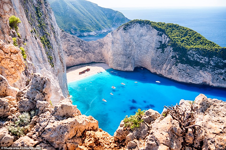 41. ZAKYNTHOS, GREECE: This Greek island is the 'most mesmerising' of them all according to Big 7 Travel. It says: 'Home to powdery beaches, jaw-dropping waters and the famous Navagio shipwreck [pictured] it checks the history and landscape boxes'