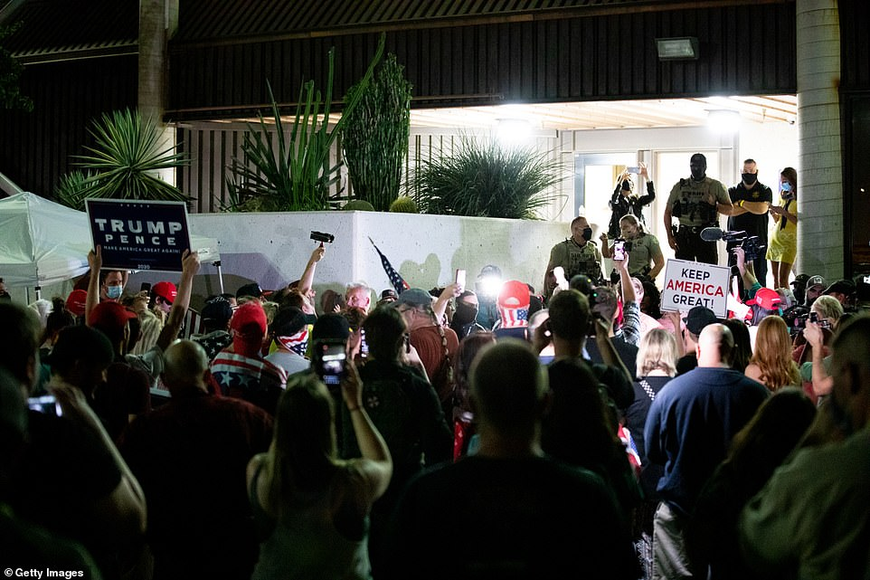 U.S. President Trump supporters gather to protest the election results at the Maricopa County Elections Department office