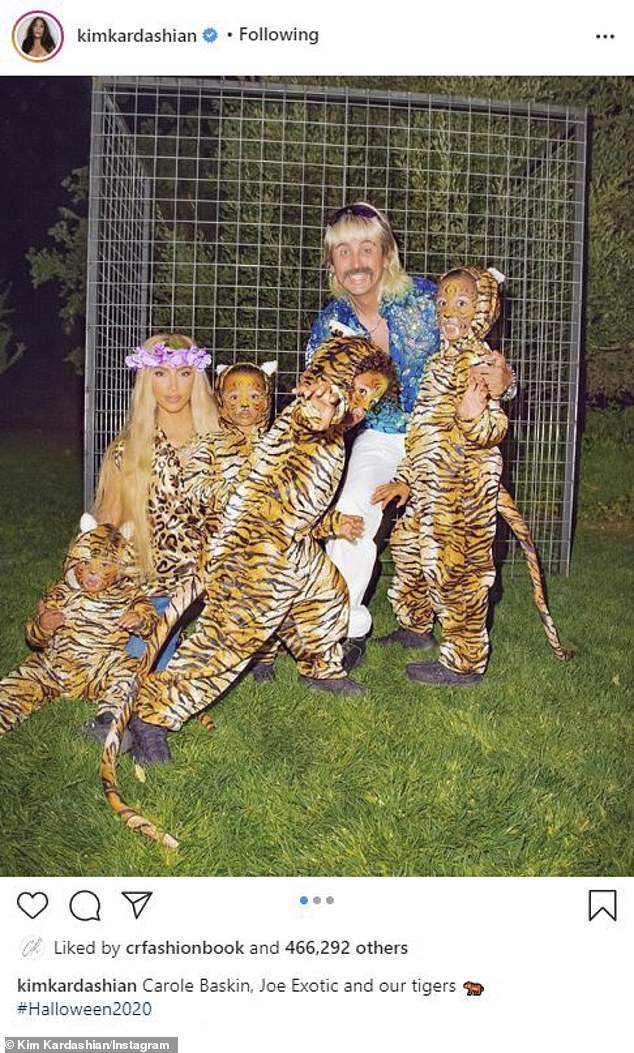 Roar:That same night her former pal Kim Kardashian dressed up as Carole Baskin from Tiger King with her four kids as little leopards and pal Jonathan Cheban as Joe Exotic