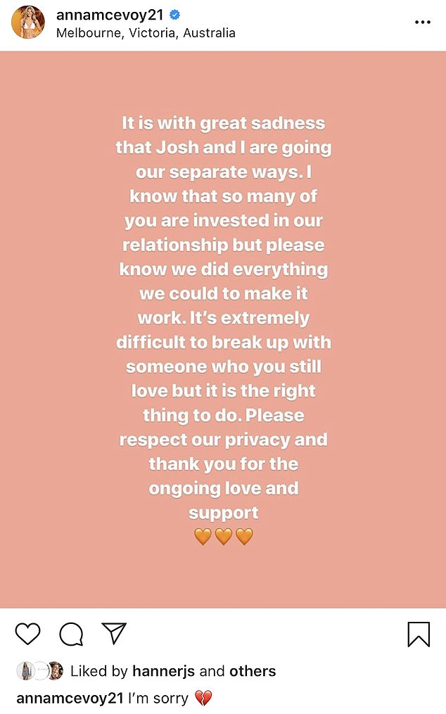 'It is with great sadness that Josh and I are going out separate ways,' Anna's post, which was captioned with 'I'm sorry', on Sunday read