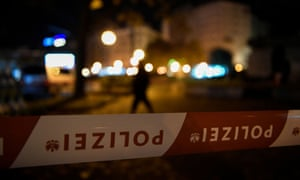 An area secured by police officers amid a terror attack in Vienna