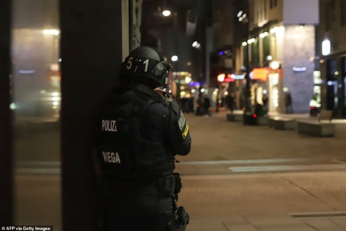 An Austrian policeman overlooks an area in Vienna after a shooting in the city centre. Multiple gunshots were fired in central Vienna on Monday evening, police said, while media reported that there had been an attack close to a synagogue
