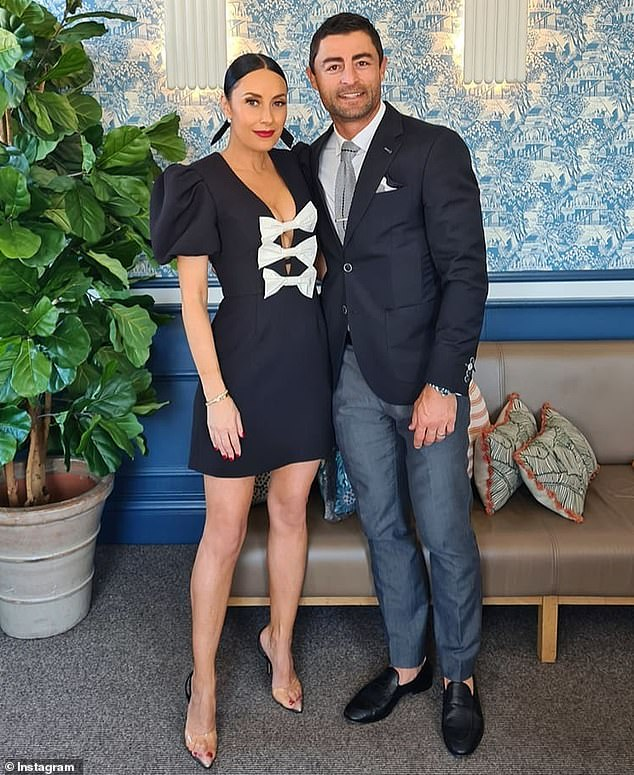 Little black dress! The shoe designer and wife of retired Sydney Roosters captain Anthony Minichiello dazzled in a dress by Rebecca Vallance, aptly called the Lavanda Bow Mini Dress