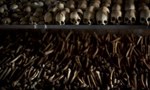 The skulls and bones of some of those who were slaughtered as they sought refuge inside a church  in Ntarama, Rwanda, in 1994.