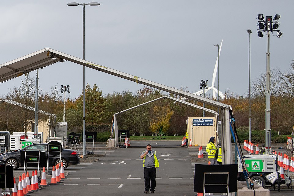 A Covid-19 testing site in Leicester, after Prime Minister Boris Johnson announced a new national lockdown will come into force in England next week