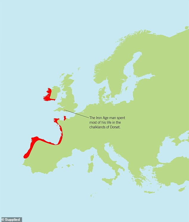 The results of the isotope analysis confirm that the Iron Age man came from outside Britain, from an area of Carboniferous Limestone. This type of rock is found in south or west Ireland, on the Atlantic coasts of southwest France and in the Cantabrian Mountains of Northern Spain (red areas)