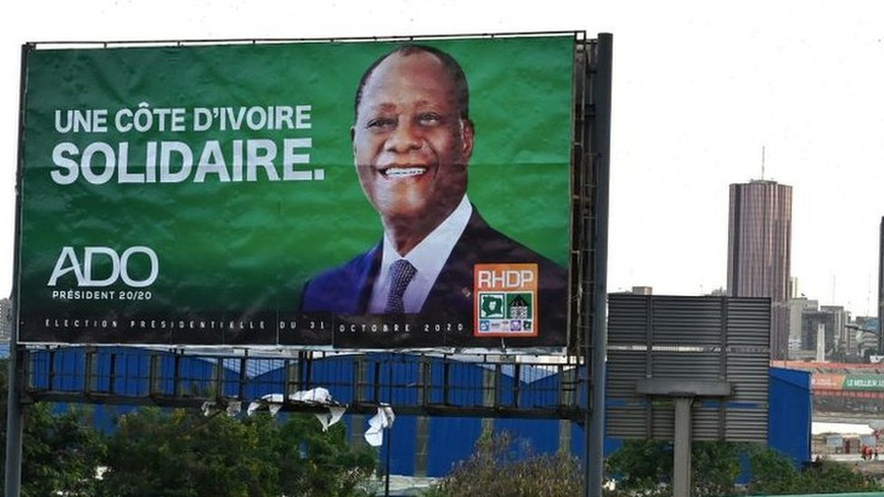 Mr Ouattara's campaign billboard appeals for unity in Ivory Coast