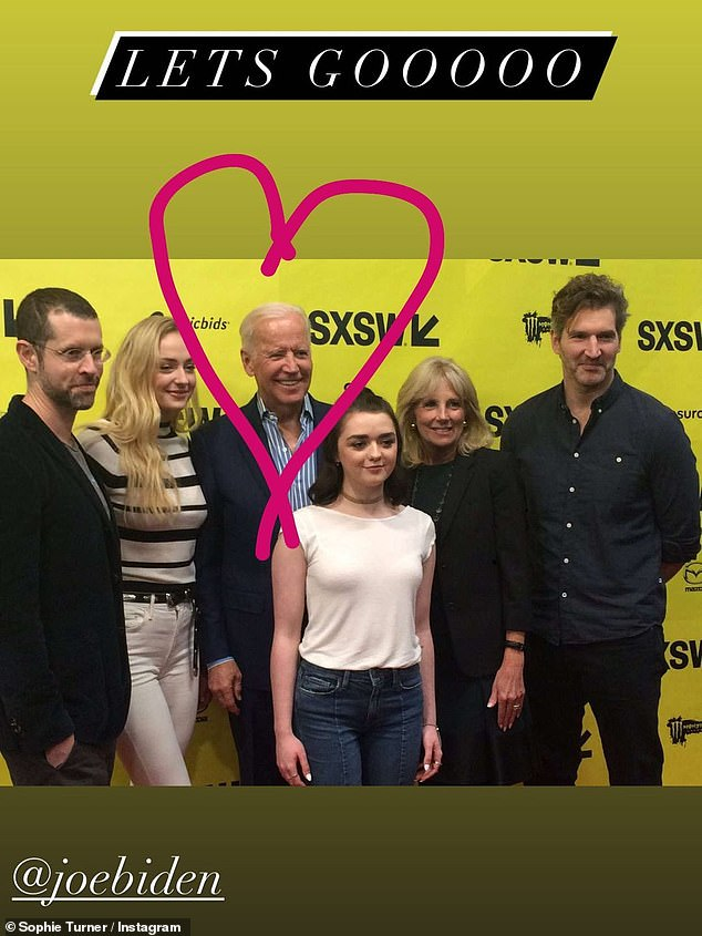 She's with Joe: Sophie Turner wasn't shy about her support for Joe Biden leading up to the election, and she posted a photo with herself, Maisie Williams, and the Game Of Thrones creators D. B. Weiss and David Benioff