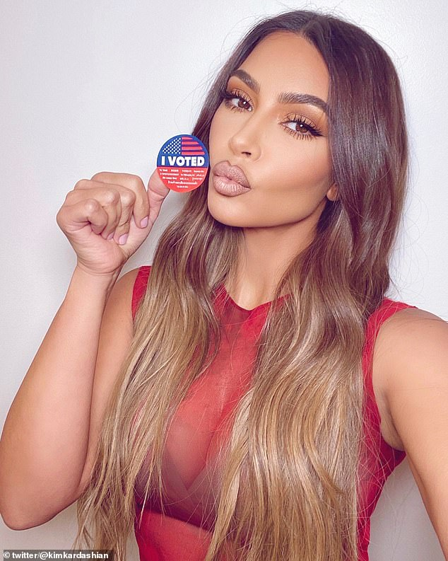 She did it too: On Tuesday Kim Kardashian said she voted while wearing a red top