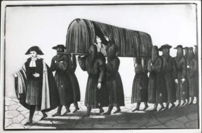 Ambulance men of the plague-stricken Florence.