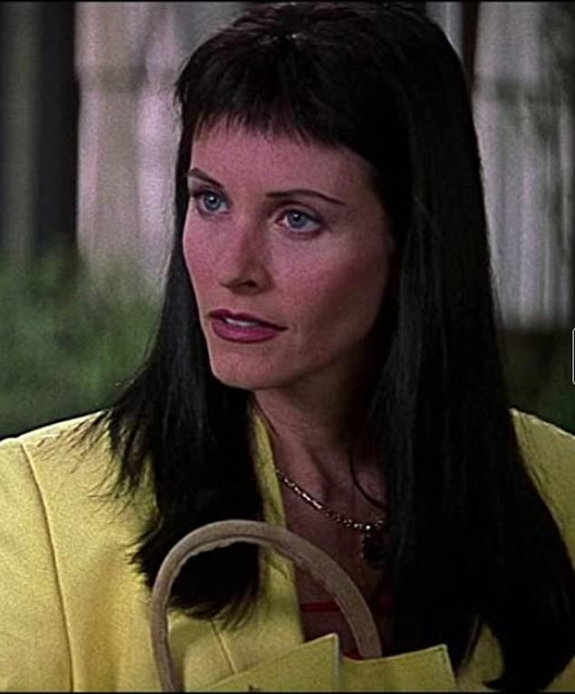 Iconic: Cox's look in the 2000 sequel Scream 3... the origin of her much maligned bangs