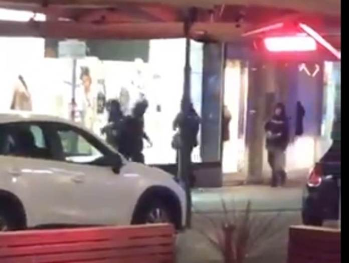 Armed police officers walk through the streets of Vienna after this evening's attack, with a manhunt said to be underway