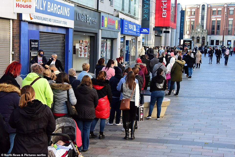 Shoppers braved the chilly temperatures as they waited outside the Primark store in Sunderland this morning
