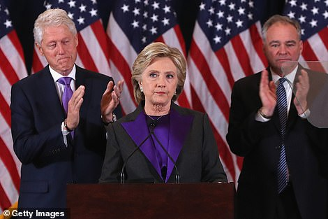 All over: Hillary Clinton was declared the loser by 2.29AM on November 9, 2016.
