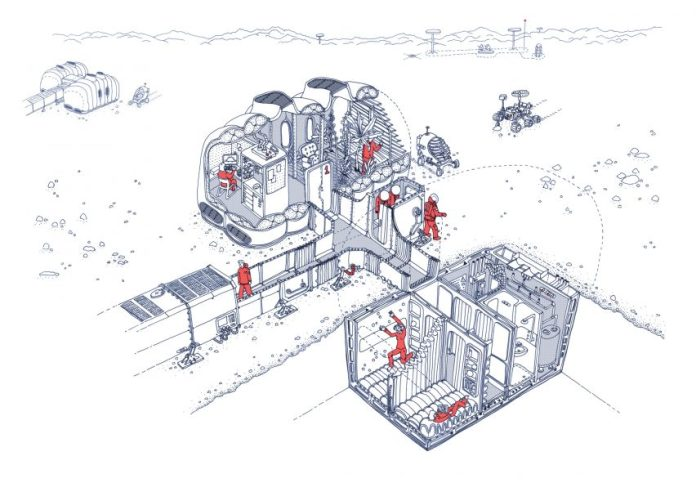 Drawing of Martian House in Bristol by Hugh Broughton Architects and Pearce+