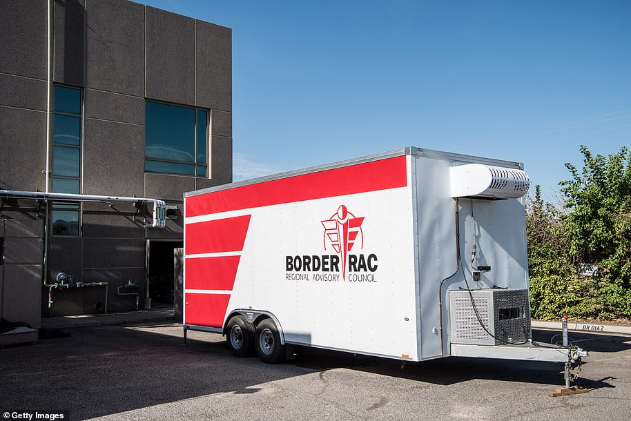 One of four mobile morgues now being used to hold an overflow of possible COVID-19 victims is parked outside the El Paso County Office of the Medical Examiner. This one was first set up in July, and the most recent mobile morgue arrived on Monday to help hold more than 200 bodies under investigation for the infection