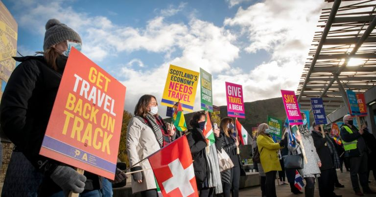 Scottish Parliament travel industry protest calls for government aid to save 26,000 jobs at risk