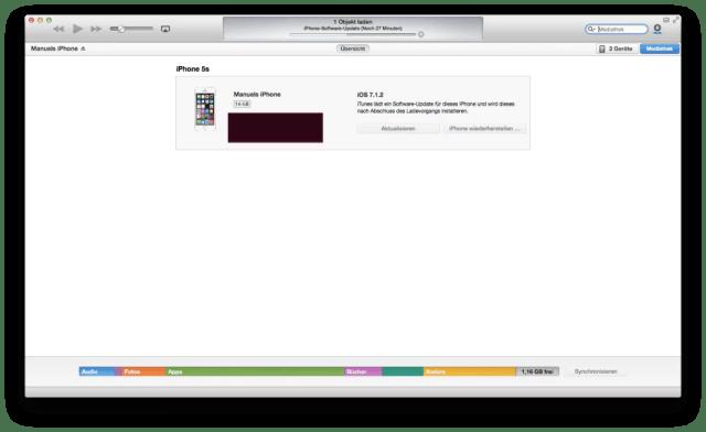 Apple iOS 8 Update via iTunes