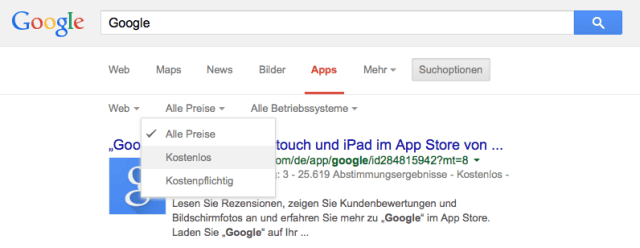 Google Apps Suchoptionen
