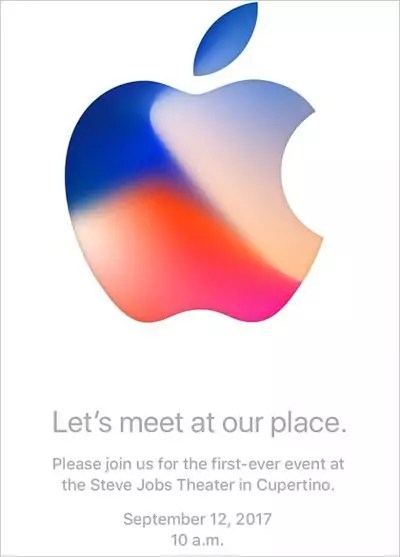 "iPhone-Event Einladung ""Let's meet our place."" - Apple Keynote im Steve Jobs Theater"