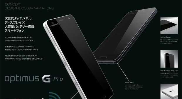 LG OPTIMUS G PRO CON SCHERMO 1080P DA 5 POLLICI