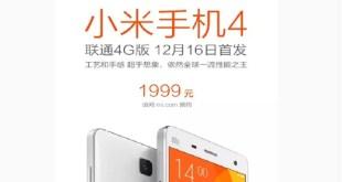 Xiaomi Mi4, la versione LTE internazionale uscirà il 16 Dicembre