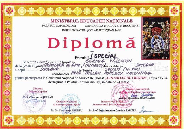 Falticeni-Diploma Valentin Bertea
