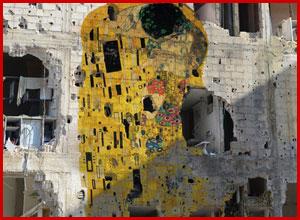 the-kiss-gustav-klimt-ruins-syria-peace-message-tammam-azzams