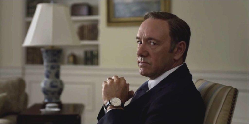 O Frank Underwood (Kevin Spacey) της σειράς House of Cards αποτελεί την προσωποποίηση του μακιαβελικού, αδίστακτου, αμοραλιστή πολιτικού.