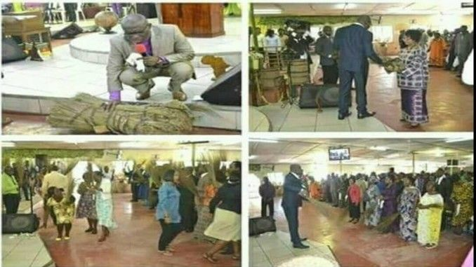 generation pastor prays over brooms