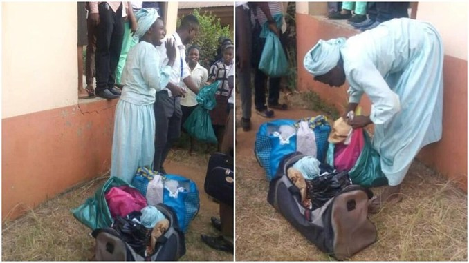 another Man dressed as woman caught with bag full of Stolen ladies Panties in Ogun and this happen next