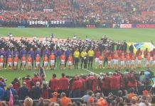 The Netherlands facing Ghana in an international friendly in Rotterdam