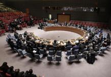 A wide view of members of the Security Council during a meeting on January 6. (Courtesy)
