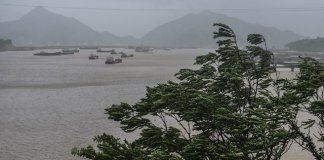 Ships take shelter at a harbor in Sanmen County of east China's Zhejiang Province, July 11, 2015. The approaching Typhoon Chan-Hom has brought gales and rainstorms to Zhejiang Province, east China, forcing hundreds of flights to be canceled and highways to be closed, local authorities said Saturday. (Xinhua/Xu Yu) (zwx)