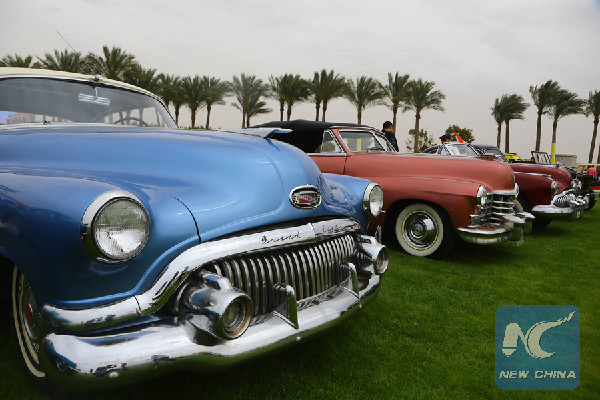 Photo taken on March 25, 2016 shows the classic cars on display during the 2nd Uptown Cairo Classic Meet in Cairo, Egypt, March 25, 2016. (Xinhua/Ahmed Gomaa)