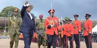 KAMPALA, May 13, 2016(Xinhua) -- Ugandan President Yoweri Museveni (1st L, front) participates in the inauguration ceremony in Kampala, Uganda, May 12, 2016. Ugandan President Yoweri Museveni on Thursday was sworn in for another five year term of office. (Xinhua)