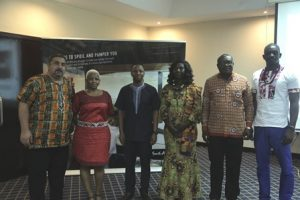 Left to right:  Mr. Ahmed Namann - President, Ghana Tourism Federation (GHATOF), Ms. Evelyn Mahlaba - Regional Director Africa at South Africa Tourism, Mr. Hloni Pitso - Regional Manager West Africa at South African Tourism, Mrs, Nancy Quartey Sam - Tour Operators Union of Ghana (TOUGHA) , Mr. Ekow Sampson - Regional Manager, Ghana Tourism Authority and Mr. Prince Odei-Aboagye - President of the Ghana Association of Travel & Tourism Agents (Kumasi Chapter)