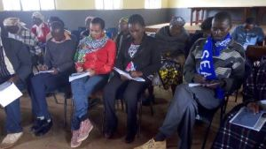Ms Florence Syevuo, National Coordinator, SDGs Kenya Forum takes notes at the County Dialogue at Misyani Mission, Kangundo Machakos County on Wednesday. Participants expressed fear that the process of implementing the SDGs may leave the vulnerable women, children and persons living with disabilities and older persons out.