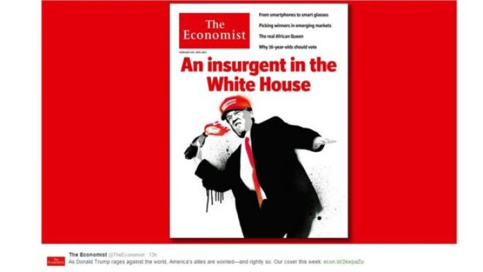 Cover shows Donald Trump throwing a petrol bomb below the words