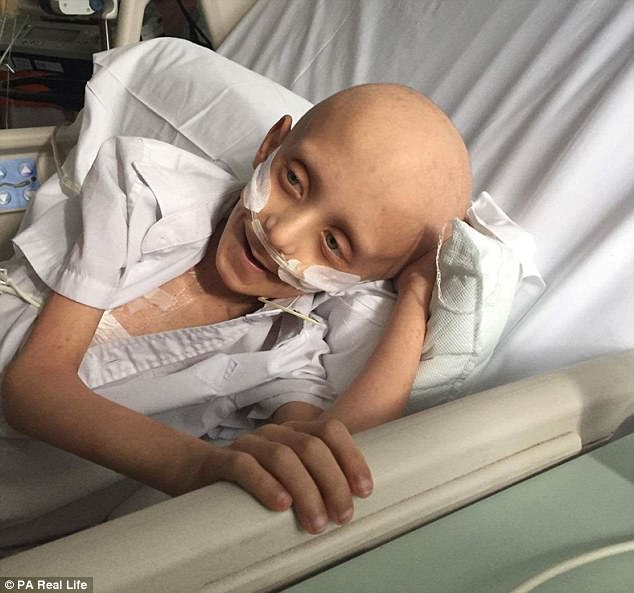 Final moments:Filip Kwasny, from Colchester, Essex is in London's Great Ormond Street Children's Hospital