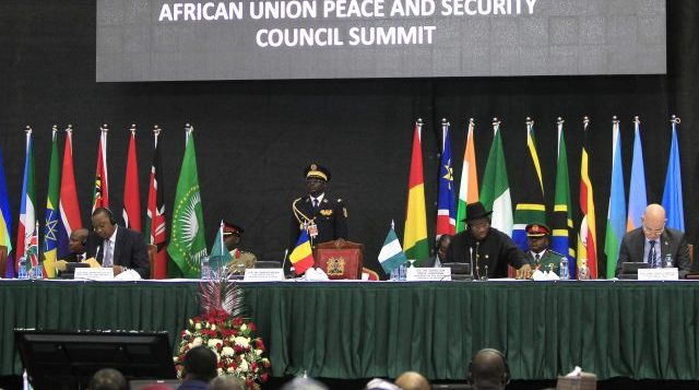 African leaders and delegates attend the Africa Union Peace and Security Council Summit on Terrorism at the Kenyatta International Convention Centre in Nairobi, September 2, 2014. African leaders proposed on Tuesday creating a special fund to combat Islamist militant groups growing in strength from Kenya to Nigeria. African Union (AU) states announced the idea after Nairobi talks on a problem highlighted on Tuesday by capture of a town in north-eastern Nigeria by Boko Haram militants. Fighting killed scores of people, according to security forces, and sent at least 5,000 fleeing. REUTERS/Noor Khamis (KENYA - Tags: POLITICS CIVIL UNREST SOCIETY)