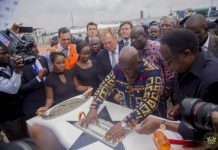 President Akufo-Addo laying the foundation stone for the new factory