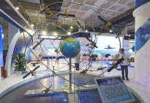 The model of Beidou satellite constellation is exhibited in China International Exhibition Center on June 8, 2017. (Photo by CFP)